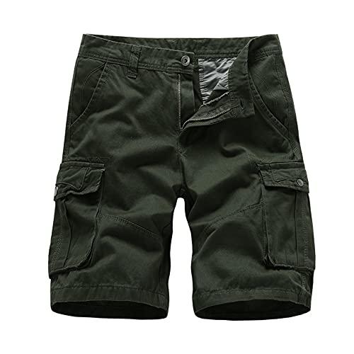 Hombre Trabajo al Aire Libre Suelto Cómodo Moda Casual Uso Diario Trabajo Pesado Medio pantalón Verano Casual Cargo Loose Fit Pantalones Cortos con múltiples Bolsillos 38
