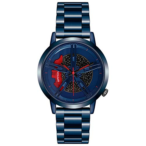 Reloj de Cubo de llanta para Hombre Reloj Deportivo Impermeable de Moda clásica Reloj de Cuarzo de Cubo de Borde de Acero Inoxidable de Cuarzo para Hombre (Blue)