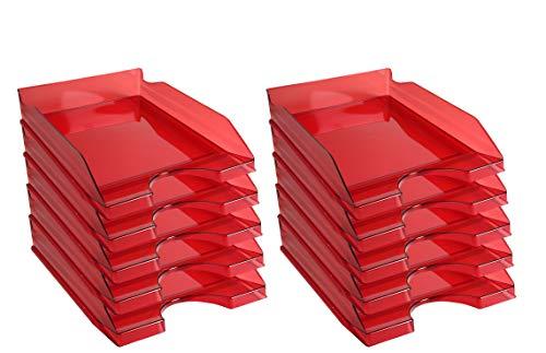 Exacompta 12324d ecotray lote de 10bandejas de correo Linicolor rojo carmín, transparente
