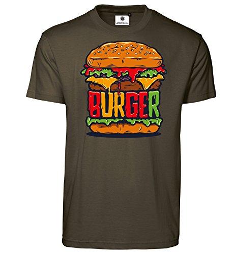 Customized by S.O.S Herren T-Shirt Burger (M, Oliv)