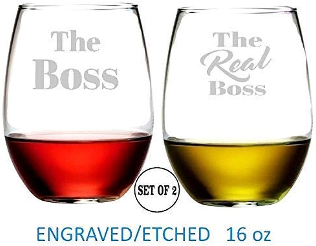 The Boss The Real Boss Stemless Wine Glasses Etched Engraved Perfect Fun Handmade Gifts For Everyone Set Of 2