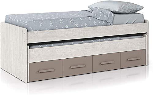 Elegante y hermosa combinación de cama ideal para niños y adolescentes habitación, dos camas dobles y dos cajones pequeños que viven,Multicolored