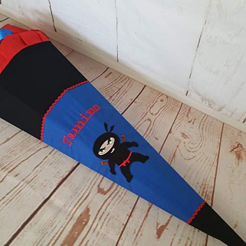 #231 Schultüte Ninja, Kämpfer, Zuckertüte Schultüte Stoff + Papprohling + als Kissen verwendbar