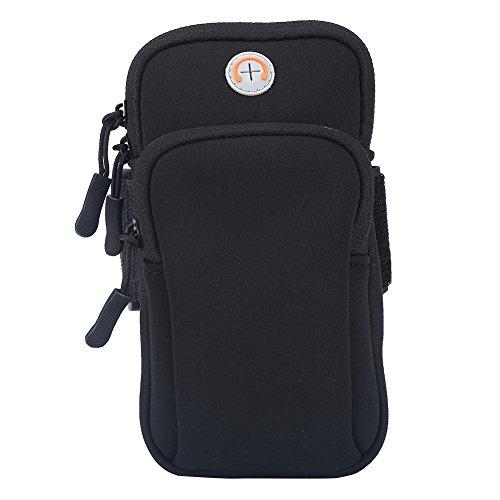 5Farben Arm Tasche für Phone Outdoor Sport Armbag Arm Case für iPhone 7mit Sportarmband Joggen Arm Tasche Gym, Radfahren, Radfahren, Wandern, Schwarz