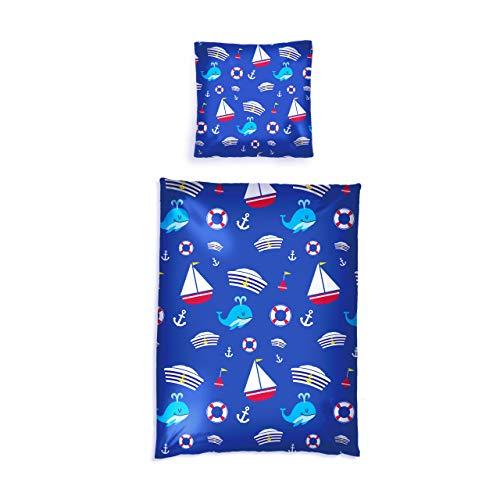 Lumaland Premium Baumwoll Baby- und Kinderbettwäsche mit YKK Reißverschluss 100 x 135 cm mit Kopfkissenbezug 40 x 60 cm Motiv Sailor