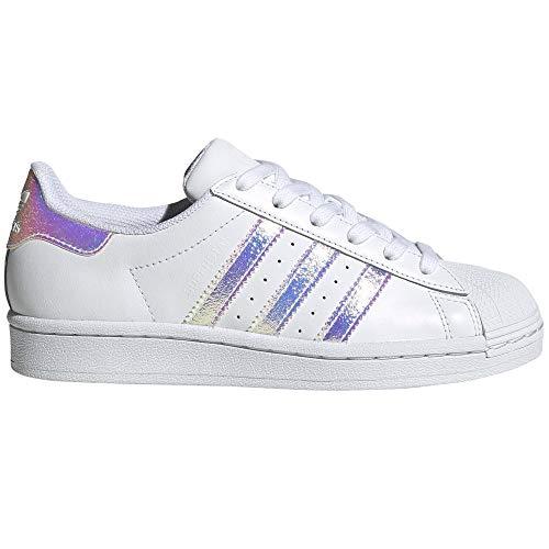 adidas Superstar Blancas. Zapatillas Deportivas para Mujer.g0 (Blanc - Bandes Iridiscent, Numeric_38_Point_5)