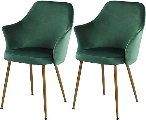 O estilo casual Butacas de la sala, sillas con asiento y respaldo de cojín de la silla, que viven con las patas metálicas sólidas, dark green- 2 pieces