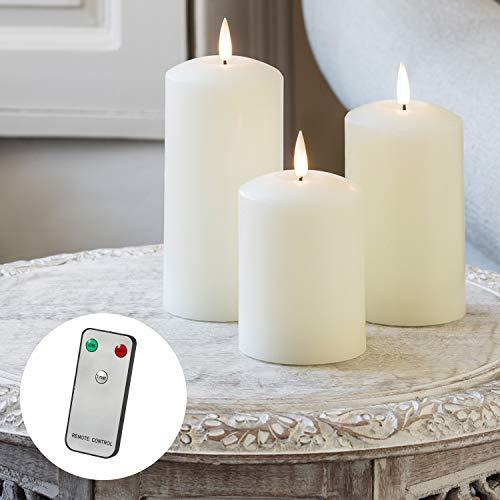 Lights4fun 3er Set TruGlow® LED Echtwachskerzen mit Fernbedienung und warmweißer LED Flamme batteriebetrieb