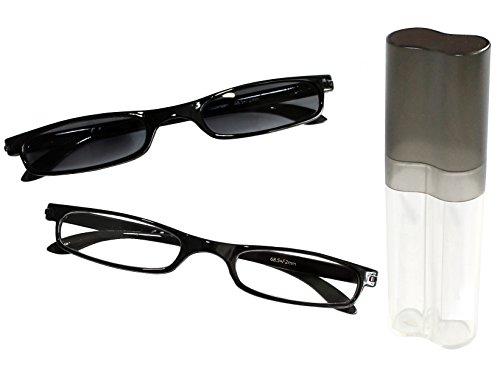 dy_mode 2er/Duo MINI Lesebrille Lesehilfe und Sonnenbrille in schwarz Klavierlack Optik im kompaktem Etui / 1,50 bis 3,00 dpt. wählbar - LB002 (+3.00 Dioptrien)