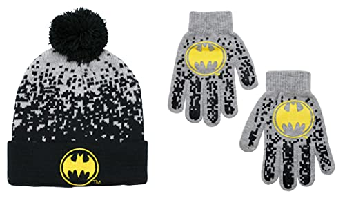 DC Comics Batman Beanie Winter Hat and Gloves Cold Weather Set (Heather Grey/Black, Age 4-7)