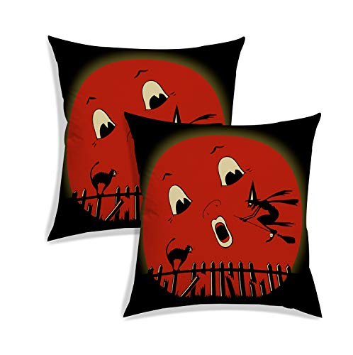 RADANYA Halloween Pattern Pillow Case Cushion Covers Pillowcase for Sofa Living Room Seat Decoration-Maroon-24X24 Set of 2