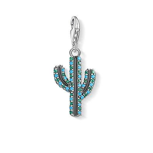 Colgantes De Plata 925 para Mujer,Romántico De Moda Cute Chainless Incrustaciones Blue Zircon Cactus Forma Encante para Damas Accesorios Joyas Regalo De Cumpleaños Parte Acceso