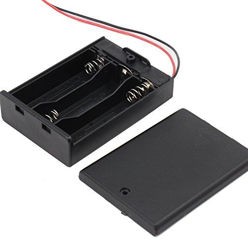 KEESIN AA 4.5V Batteriehalter Fall Kunststoff Akku Aufbewahrungsbox mit EIN / AUS Schalter und Befestigung Kabelbinder (3 Solts * 5 Stück)