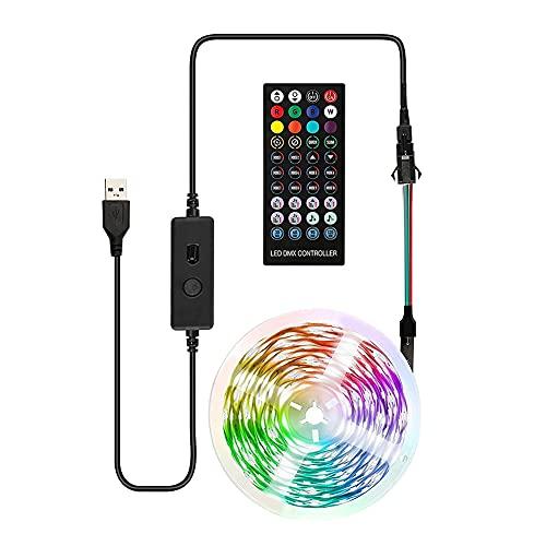 Fuaensm Smart 40 touches Télécommande RGB Bande lumineuse Bluetooth Compatible USB LED Lampe Ruban Musique TV Fond Vélo Chambre Camping Décor, 5 m.,