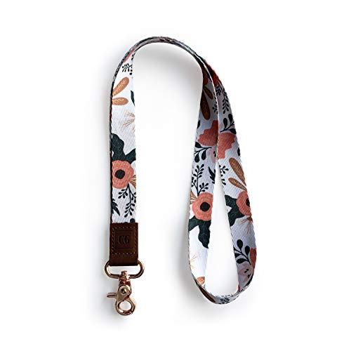 Lanyard for Car Keys - Cute lanyards for Women - Key Lanyard Wallet Holder (White Floral)