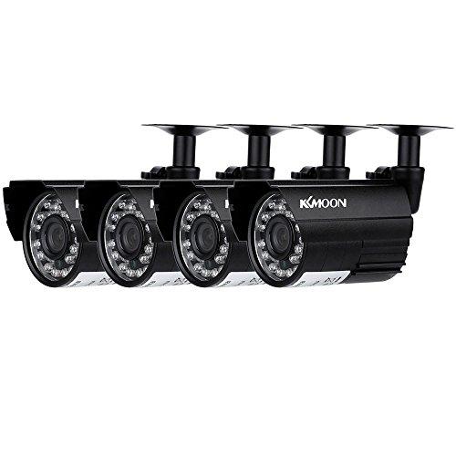 KKmoon Kit de Vigilancia (4 Cámara Bala CCTV, AHD 720P, Lente 3.6mm, 24 LED IR Cut, Impermeable, 1/4' CMOS) Seguridad Hogar, Negro
