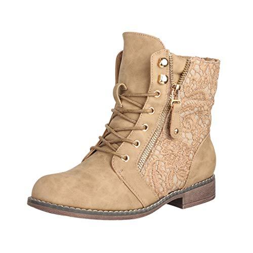 Elara Damen Stiefeletten Worker Boots Spitze Chunkyrayan B9812-KB-Khaki-37