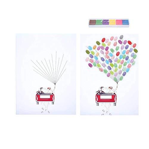 árbol de huellas dactilares, cartel de libro de visitas de boda DIY Firma de invitado Libro de inicio de sesión Pintura de árbol de huella digital para fiesta de cumplea?os de boda(UNA)