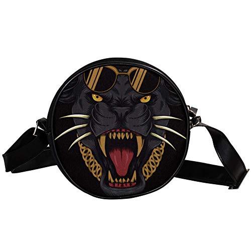 Mini Umhängetasche Mädchen Schwarzer Leopard mit Brille Geldbörse Runde Umhängetasche Kinder Brieftasche Klein Handtasche Tasche Handy Schultertasche 17x17x5.5cm