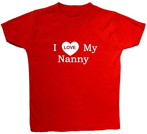 T-shirts pour bébé/enfant avec inscription « I Love My Nanny » de 0 à 5 ans - Rouge - petit