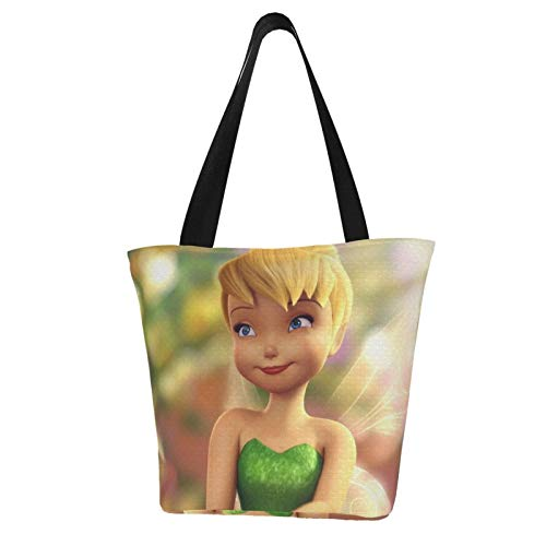 Tinker Bell Beautiful Women Tote Bag Canvas Handbags Casual Ladies Shoulder Bags for Shopping Purse