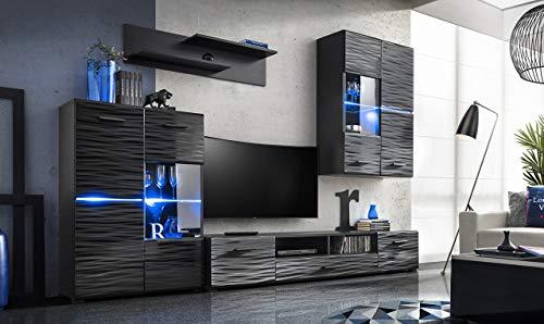 all4all Wohnwand Anbauwand Schrankwand Banti Hochglanz Schwarz mit Led Beleuchtung Blau Fernsehschrank Standvitrine Glas Modern 3D Dekor 10