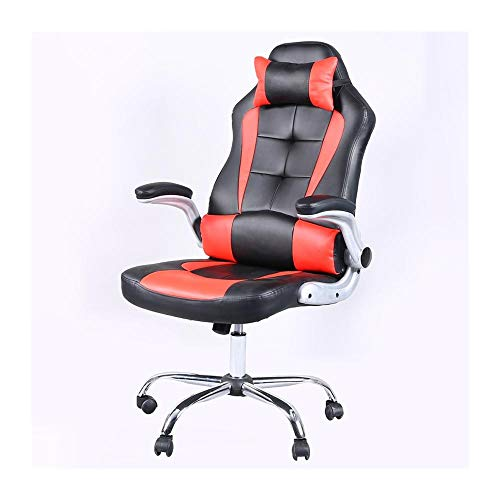 JISHIYU - Q Silla ergonómica giratoria para videojuegos, silla de oficina, silla de oficina, respaldo alto, mesa de ordenador y silla de cuero artificial, sillas de carreras (color: naranja)