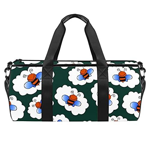 Green Bee Animal Gym Bag para hombres y mujeres Bolsas de fin de semana Bolsa de viaje deportiva con bolsillo impermeable