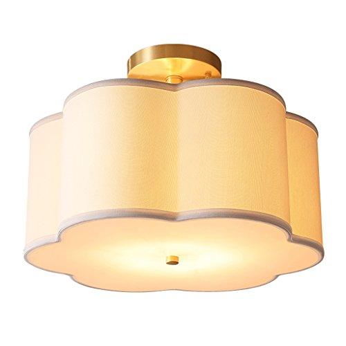 Le salon de lampe de plafond de style de fleur de cuivre multifonctionnel rond lampe de plafond de tissu, 46 * 32cm A+