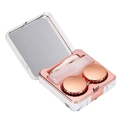 Wifehelper Kontaktlinsenbehälter, Mini Stilvoller Einfacher Kontaktlinsen Reisekoffer Beweglicher Marmoroberflächenspiegel Quadrat Tränkender Kontaktlinsen Fall (Rose Gold)