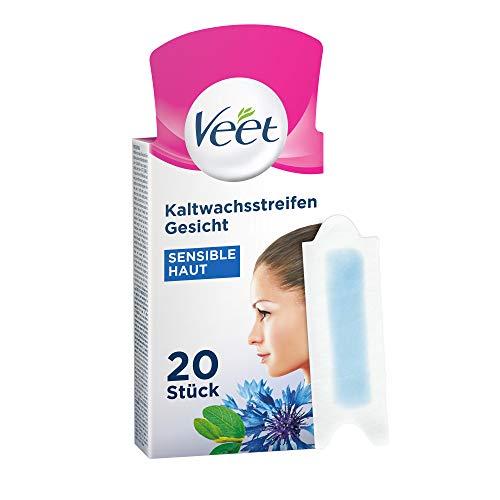 Veet Kaltwachsstreifen mit Easy-Gelwax Technology – Für das Gesicht – Geeignet für sensible Haut – Bis zu 28 Tage glatte Haut – 20 x Doppelstreifen