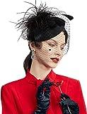 BABEYOND Women's Fascinators Hat Hair Clip Pillbox Hat Tea Party Fascinator Hat with Veil Headband for Cocktail Wedding Hair Accessories (Black)