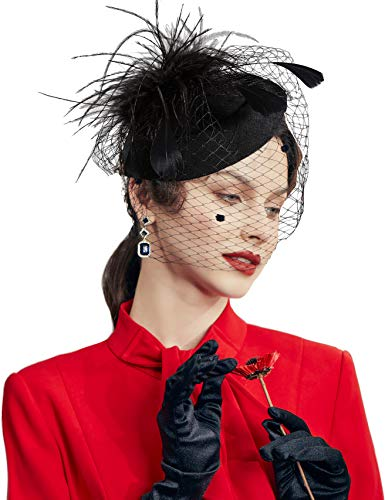 Coucoland Feder Fascinators Hut Damen Blumen Mesh Elegant Hochzeit Fascinator Haarreif Cocktail Tee Party Accessoires (Schwarz)