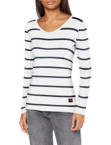 G-STAR RAW Womens Core Eyben Slim T-Shirt, Milk/Vintage Navy Stripe C483-C088, M