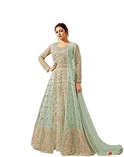 Women's Net Heavy Fabric Coding Embroidery Floor Length Anarkali Suit (LNF184, Light Green, XX-Large)