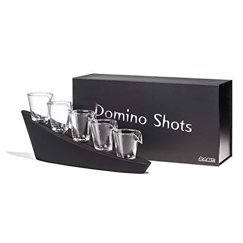 Froster Domino Shots Deluxe, cinco vasos de chupito en cascada, regalo de vodka para hombres, juego de bar