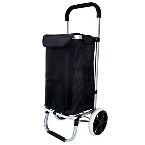QTC ALU Einkaufstrolley Korb Trolley klappbar Einkaufstasche Einkaufswagen Shopping Trolley(Schwarz)