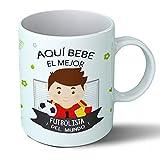 Planetacase Taza Desayuno Aquí Bebe el Mejor Futbolista del Mundo Regalo Jugador de fútbol Ceramica 330 mL
