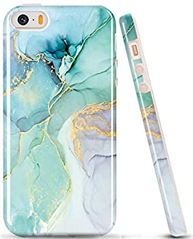 luolnh Compatible with iPhone 5 5S Case,Marble Design,Shockproof Clear Bumper TPU Soft Case Rubber Silicone Skin Cover Case for iPhone 5 5s  Abstract Blue&Green