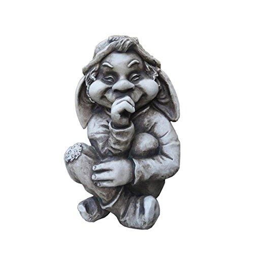 Unbekannt Varilando Garten-Troll in 2 Varianten Troll-Figur Gartenfigur Glasfaser in Steinoptik (Bardin)