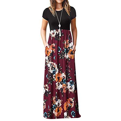 Jiakeda - Vestido de verano con cuello redondo, de manga corta, estilo retro, estilo floral, estilo retro, elegante, maxivestido, sin hombros, para el tiempo libre Vino L