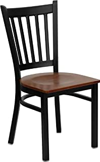 Flash Furniture 4 Pk. HERCULES Series Black Vertical Back Metal Restaurant Chair - Cherry Wood Seat