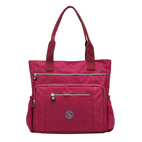 Women's Casual Multi-Pocket Handbags Waterproof Nylon Top-Handle Bag Shoulder Bag Travel Purse Large Capacity (Wine)