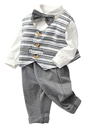 EOZY 3tlg Baby Jungen Bekleidungsset Festliche Streifen Weste +Strampler +Krawatte Größe 73