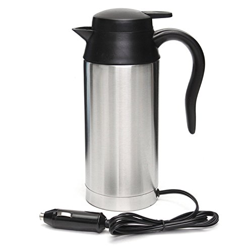 12V 750ml Stainless Steel Car Electric Heating Mug Drinking Cup Travel Kettle Water Boiler for Water Tea Coffee Milk Connecticut