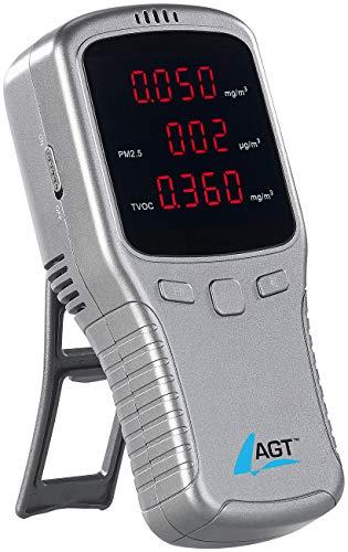 AGT Feinstaubmessgerät: 5in1-Akku-Feinstaub-Messgerät für HCHO, PM1/2,5/10 und TVOC (Luftmessgerät)