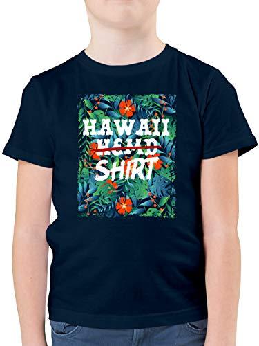 Karneval & Fasching Kinder - Hawaii Hemd Shirt - 152 (12/13 Jahre) - Dunkelblau - Hemd Junge 152 - F130K - Kinder Tshirts und T-Shirt für Jungen