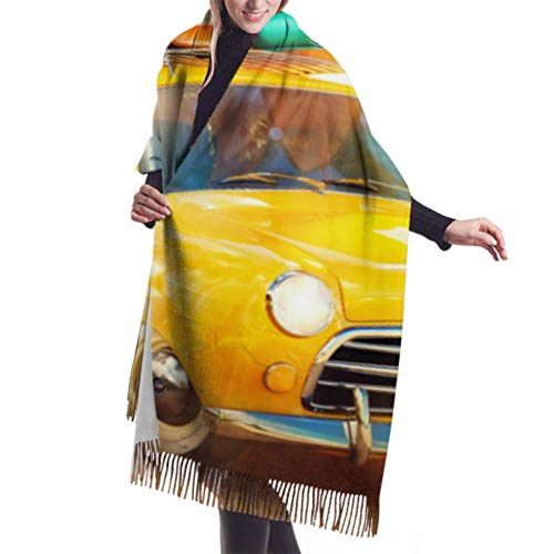Tengyuntong Pashmina Wrap Blanket Scarf, 27'x77' Lightweight Scarfs For Girls Funny Retro Car With Surfboard And Suitcases On A Scarfs Cashmere Fashion Scarf Lightweight Stylish Large Warm Blanket