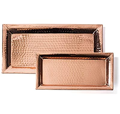 Hammered Tray – Set of 2, Serving Platter 16x8 Inch, Rectangular Serving Dish 12x6 Inch, Pure Copper, Stackable - Nesting Trays by Colleta Home