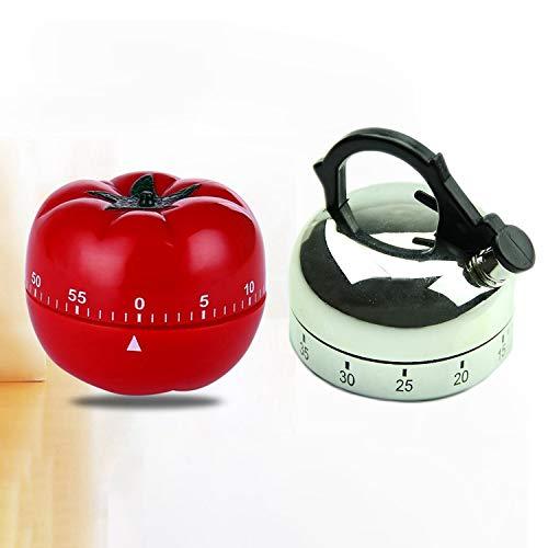 Casinlog Küchenwecker in Form einer Teekanne, 60 Minuten, Timer, mechanisch, 2 Stück
